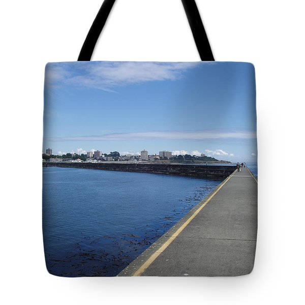 Tote Bag featuring the photograph Along The Breakwater by Marilyn Wilson