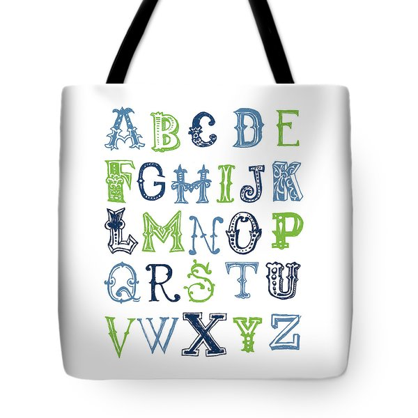 Tote Bag featuring the digital art Alphabet Poster by Jaime Friedman