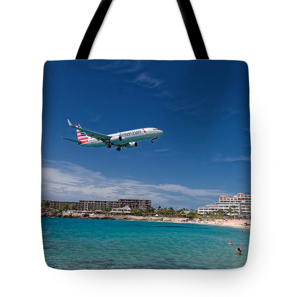 American Airlines At St Maarten Tote Bag