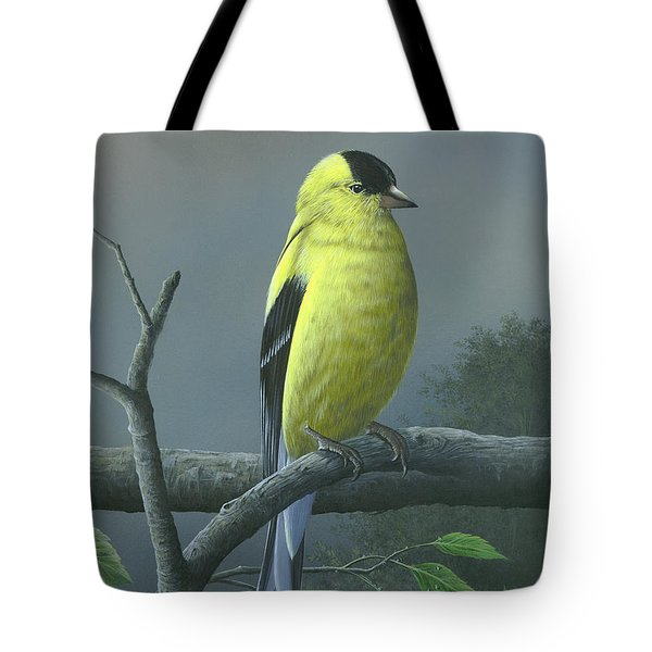 Tote Bag featuring the painting American Goldfinch by Mike Brown