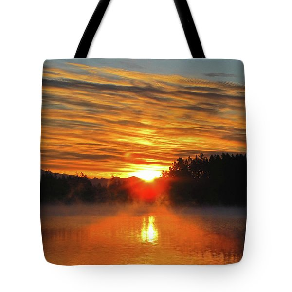 Tote Bag featuring the photograph American Lake Sunrise by Tikvah's Hope