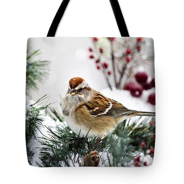 Christmas Sparrow Tote Bag by Christina Rollo