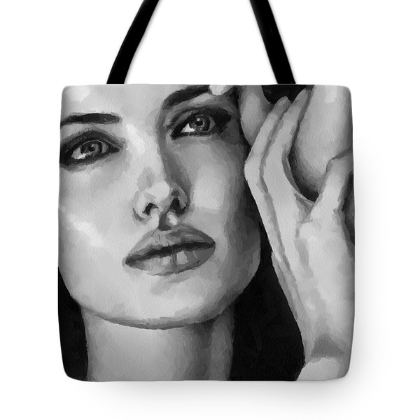 Angelina Jolie Black And Whire Tote Bag by Georgi Dimitrov