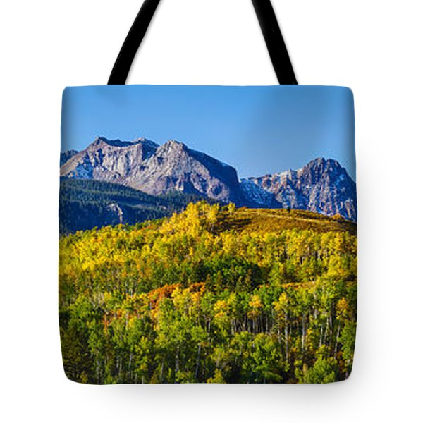 Aspen Trees With Mountains Tote Bag