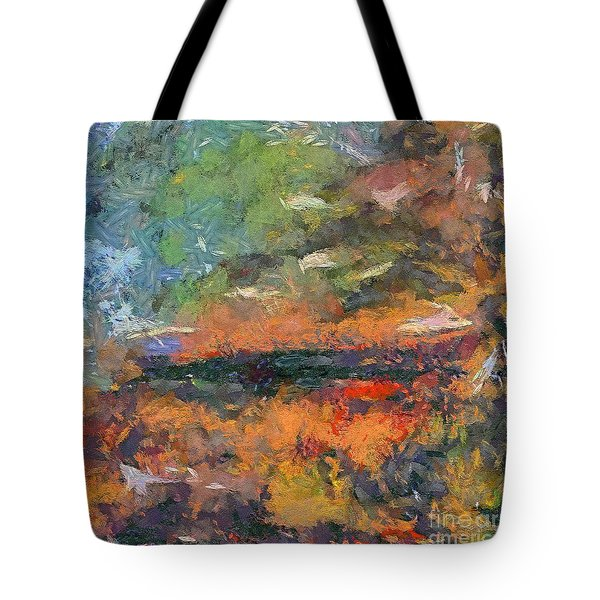 Tote Bag featuring the painting At Dawn by Dragica  Micki Fortuna