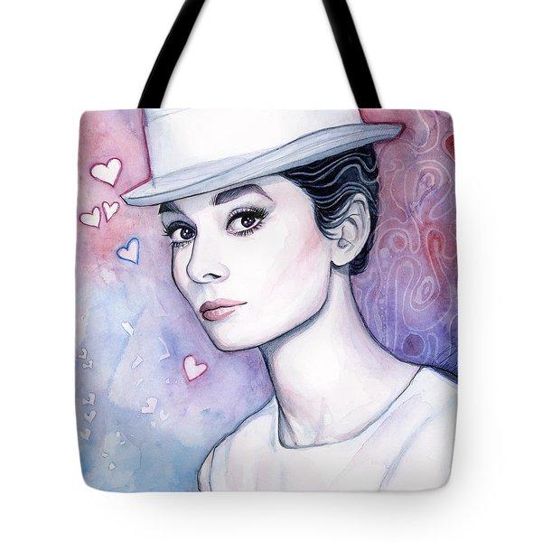 Audrey Hepburn Fashion Watercolor Tote Bag