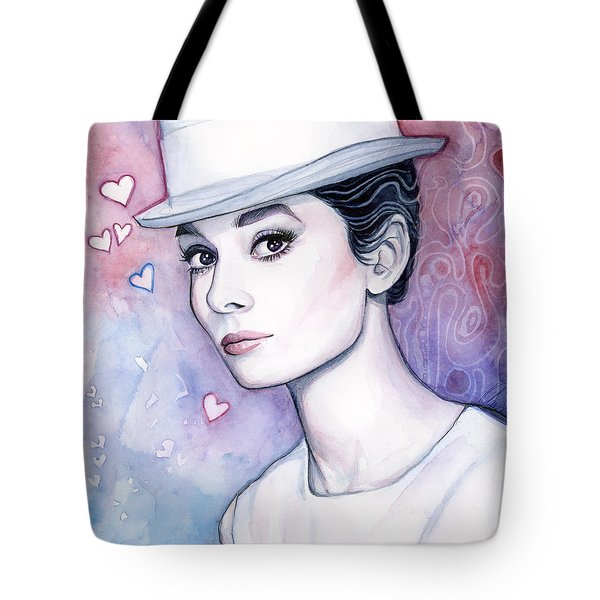 Audrey Hepburn Fashion Watercolor Tote Bag