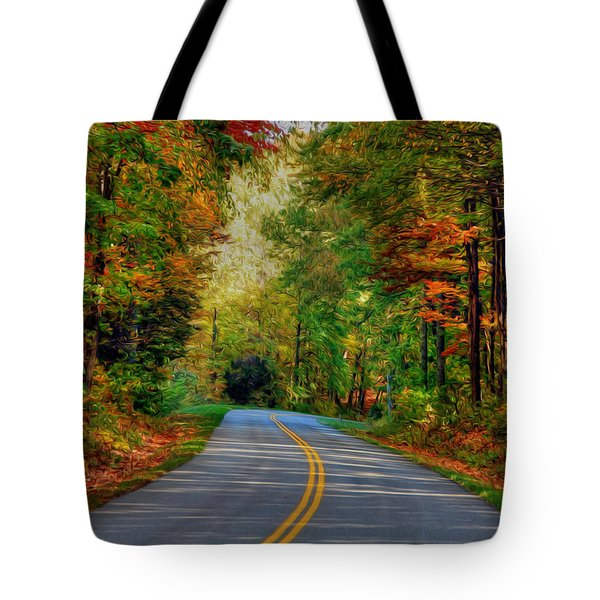 Tote Bag featuring the digital art Autumn Drive by Kelvin Booker