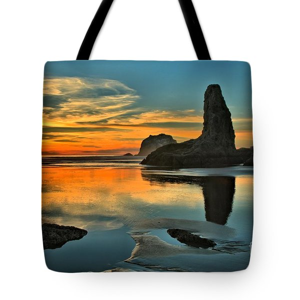 Bandon Beach Sunset Tote Bag by Adam Jewell