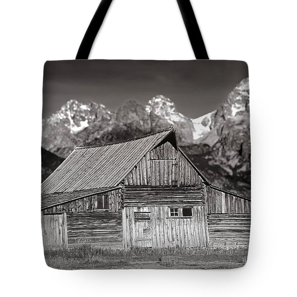 Tote Bag featuring the photograph Barn And Tetons by Jerry Fornarotto