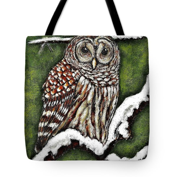 Tote Bag featuring the painting Barred Owl by VLee Watson