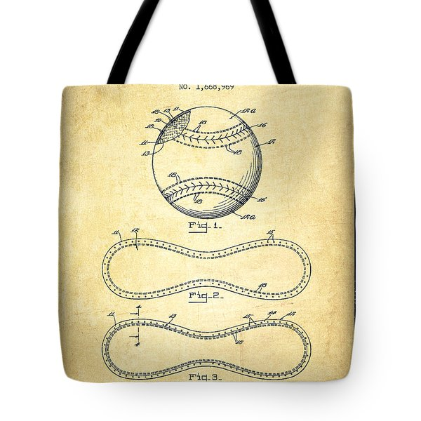 Baseball Patent Drawing From 1928 Tote Bag