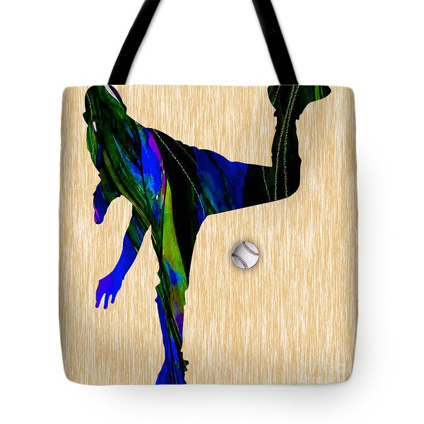 Baseball Pitcher Tote Bag by Marvin Blaine