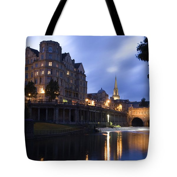 Bath City Spa Viewed Over The River Avon At Night Tote Bag by Mal Bray