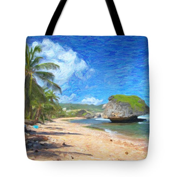 Bathsheba Beach In Barbados Tote Bag by Verena Matthew