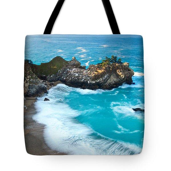 Beautiful Mcway Falls Along The Big Sur Coast. Tote Bag