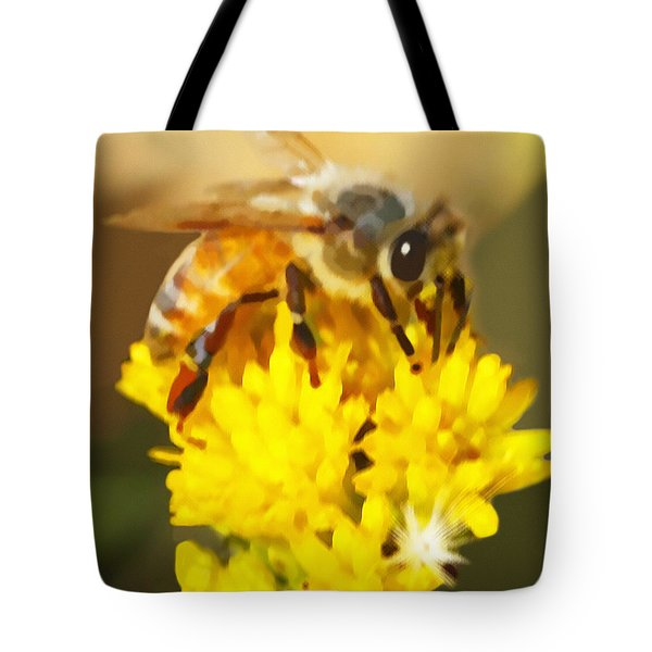 Bee On A Yellow Flower Tote Bag by Marian Cates