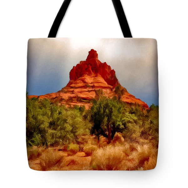 Bell Rock Vortex Painting Tote Bag by Bob and Nadine Johnston