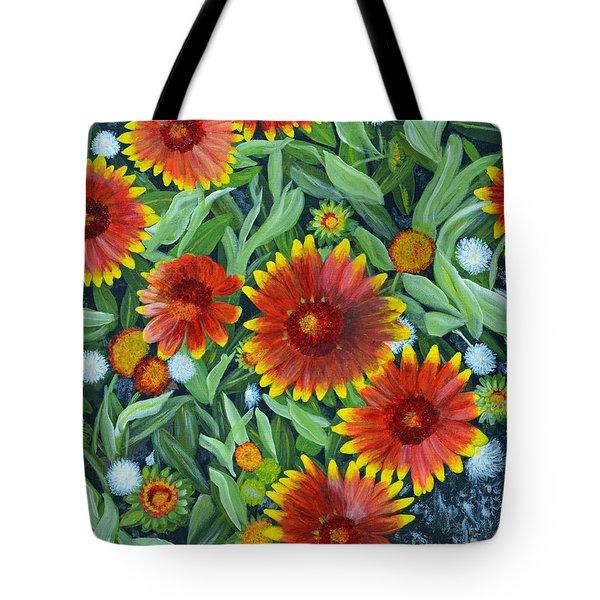 Blanket Flowers Tote Bag by Donna  Manaraze