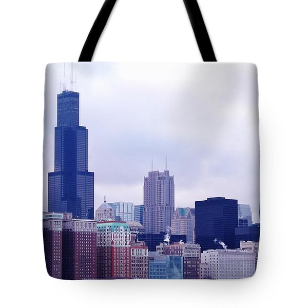 Blue Chicago Skyline Tote Bag