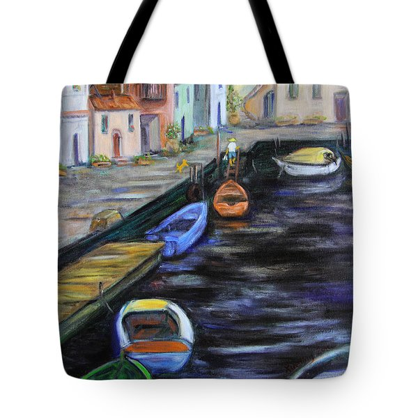 Tote Bag featuring the painting Boats In Front Of The Buildings IIi by Xueling Zou