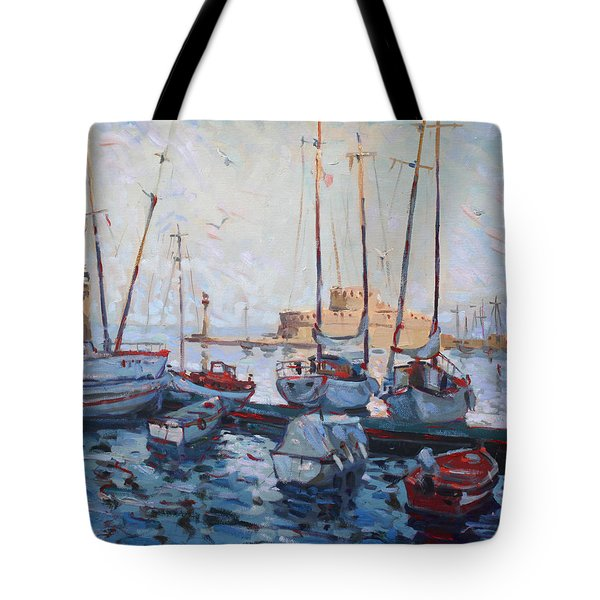 Boats In Rhodes Greece  Tote Bag by Ylli Haruni