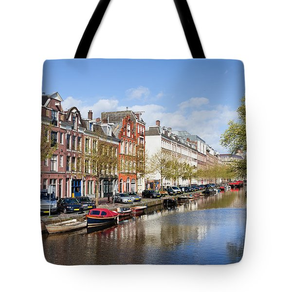 Boats On Amsterdam Canal Tote Bag