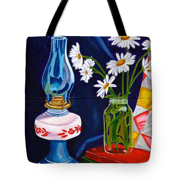 Tote Bag featuring the painting 2 Books And A Lamp by Laura Forde