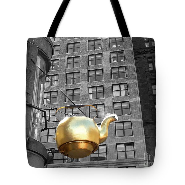 Tote Bag featuring the photograph Boston Golden Teapot by Cheryl Del Toro