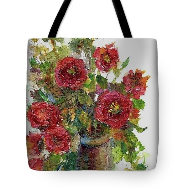 Bouquet Of Poppies Tote Bag by Mary Wolf