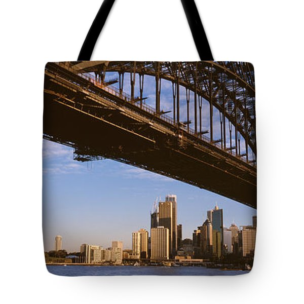 Bridge Across The Bay With Skyscrapers Tote Bag by Panoramic Images