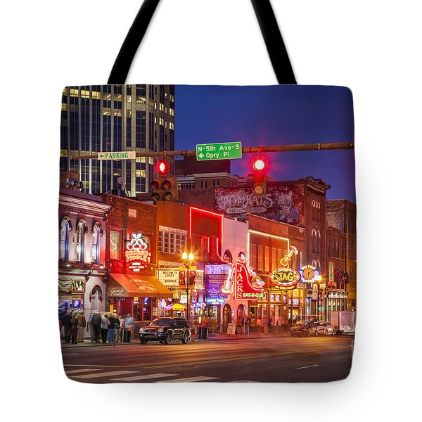 Broadway Street Nashville Tote Bag by Brian Jannsen