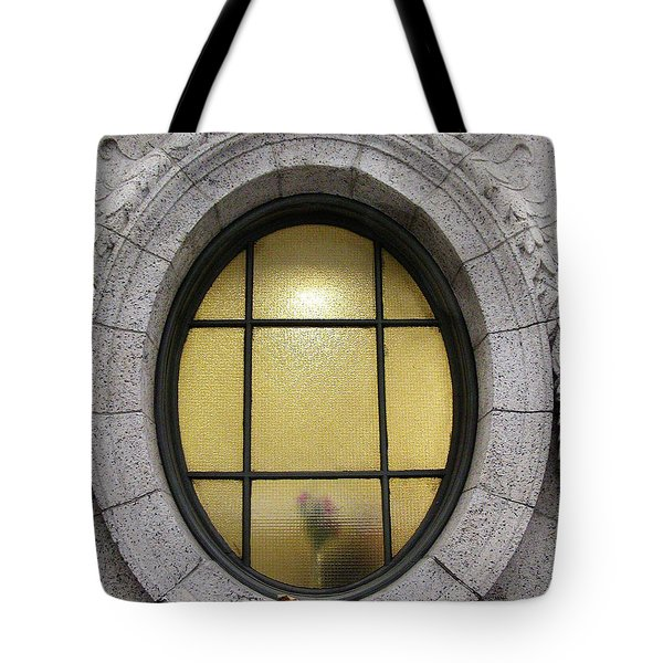 Tote Bag featuring the photograph Bryant Park Window by Gary Slawsky
