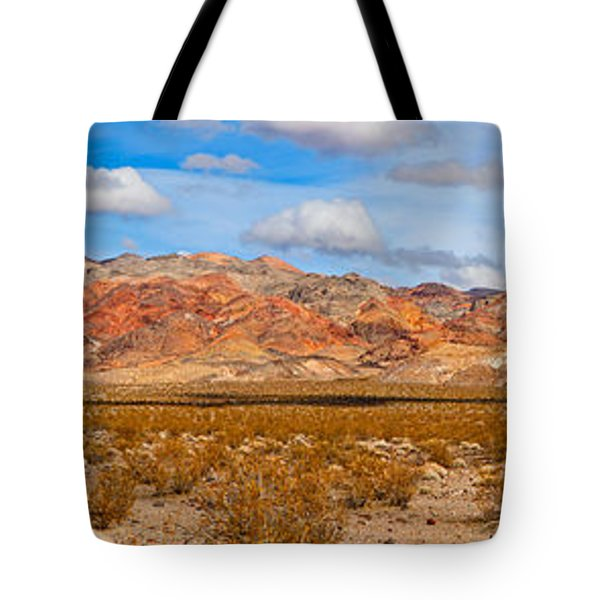 Bushes In A Desert With Mountain Range Tote Bag