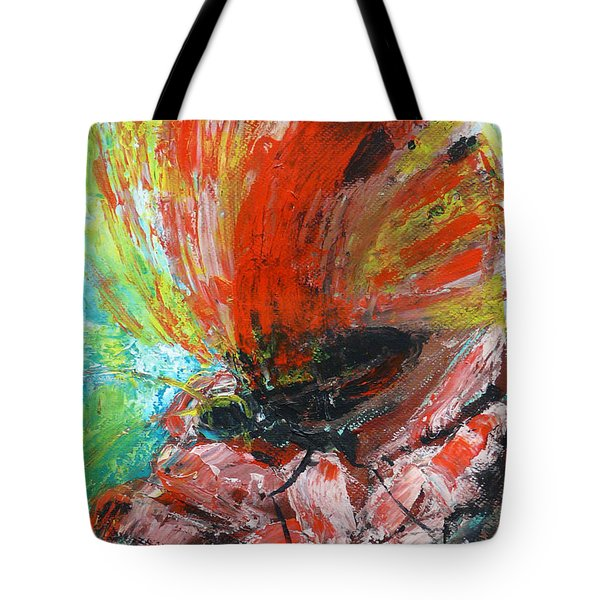 Butterfly And Flower Tote Bag by Jasna Dragun