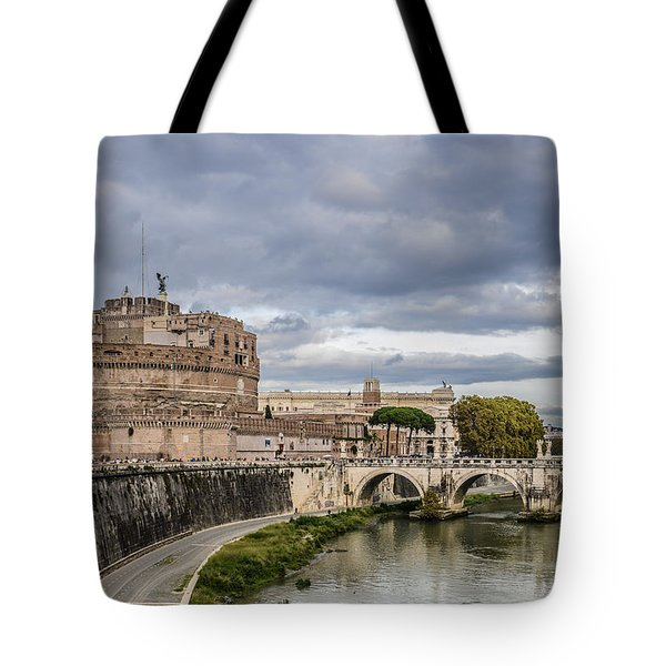 Castle St Angelo In Rome Italy Tote Bag