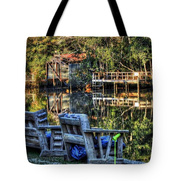 2 Chairs On The Magnolia River Tote Bag