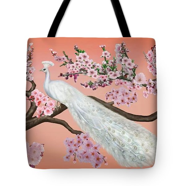 Cherry Blossom Peacock Tote Bag