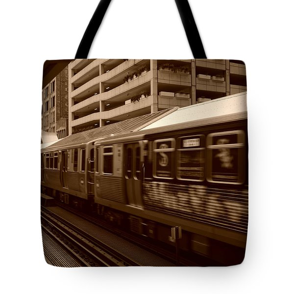 Tote Bag featuring the photograph Chicago Cta by Miguel Winterpacht