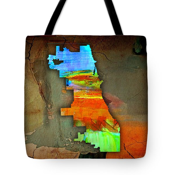 Chicago Map Watercolor Tote Bag by Marvin Blaine