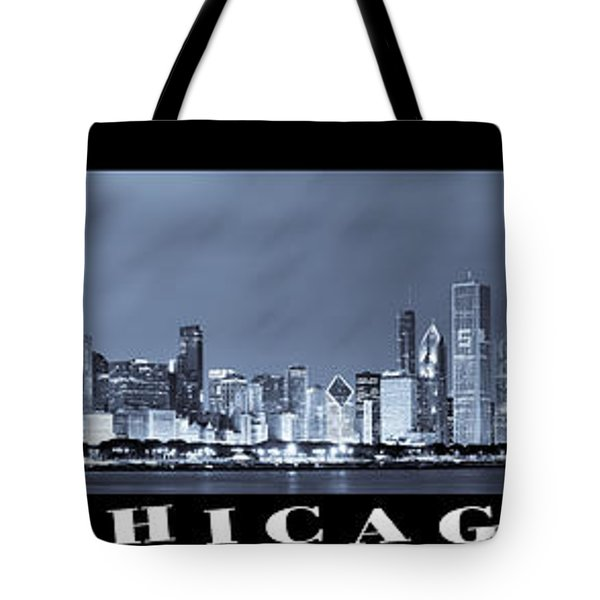 Chicago Skyline At Night Tote Bag by Sebastian Musial