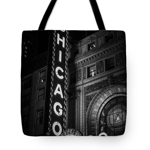 Chicago Theatre Sign In Black And White Tote Bag