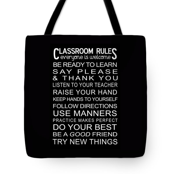 Tote Bag featuring the digital art Classroom Rules Poster by Jaime Friedman