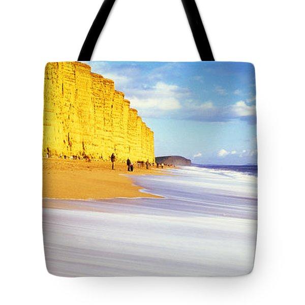 Cliff On The Beach, Burton Bradstock Tote Bag