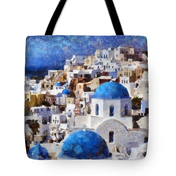 Colorful Oia In Santorini Island Tote Bag