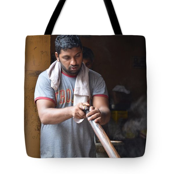 Tote Bag featuring the photograph Cooking Breakfast Early Morning Lahore Pakistan by Imran Ahmed