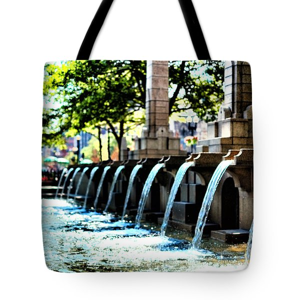 Copley Square Fountain In Boston Tote Bag by Boris Mordukhayev