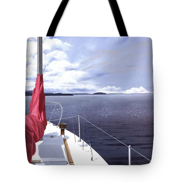 Tote Bag featuring the painting Cruising North by Gary Giacomelli