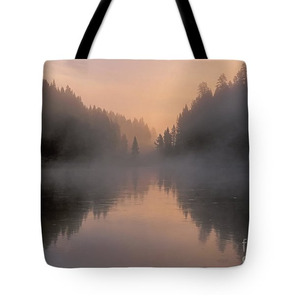Dawn On The Yellowstone River Tote Bag by Sandra Bronstein