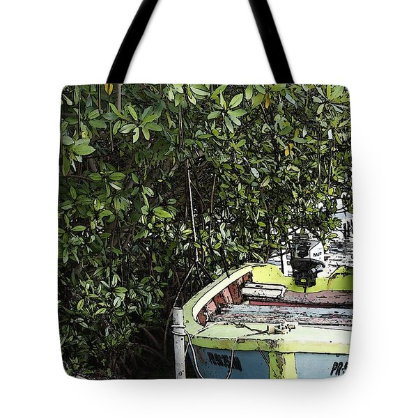 Tote Bag featuring the photograph Docked By The Mangrove Trees by Lilliana Mendez